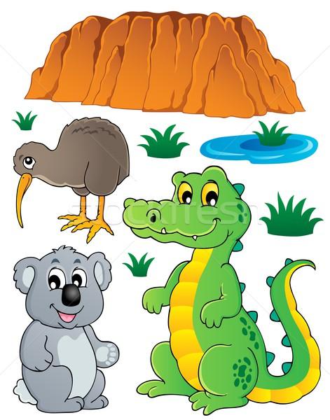 Australisch wildlife fauna ingesteld glimlach ontwerp Stockfoto © clairev