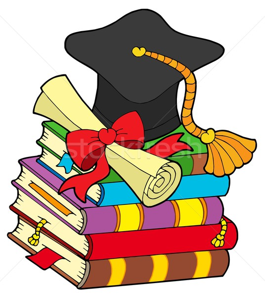 Graduation hat on pile of books Stock photo © clairev