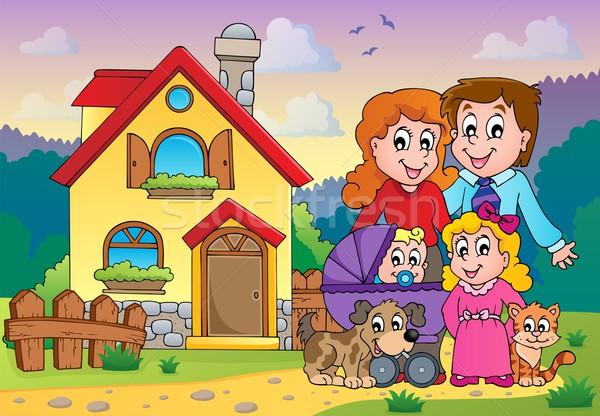 семьи изображение дома ребенка улыбка здании Сток-фото © clairev