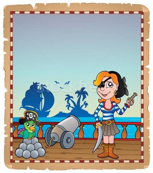 羊皮紙 海賊 船 デッキ 女性 紙 ストックフォト © clairev