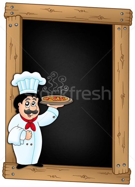 Blackboard with chef holding pizza Stock photo © clairev