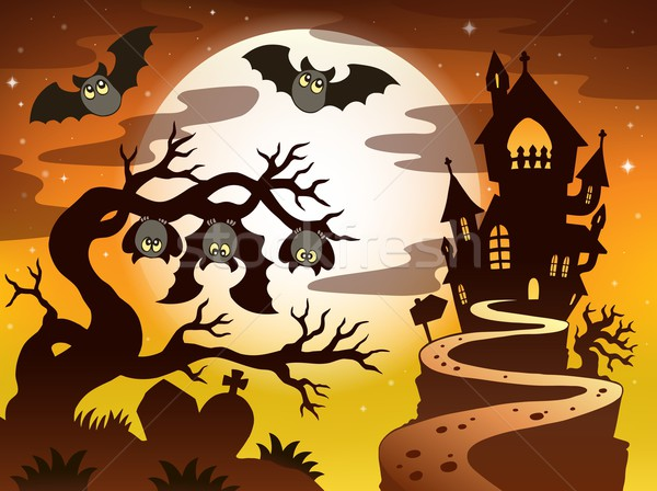 Foto stock: Halloween · silhueta · céu · casa · árvore · olhos