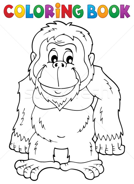 Coloring book orangutan theme 1 Stock photo © clairev