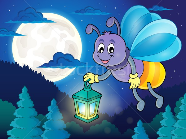 Luciole lanterne image ciel sourire forêt Photo stock © clairev