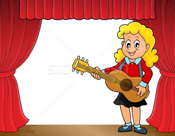 Menina guitarrista etapa sorrir guitarra criança Foto stock © clairev