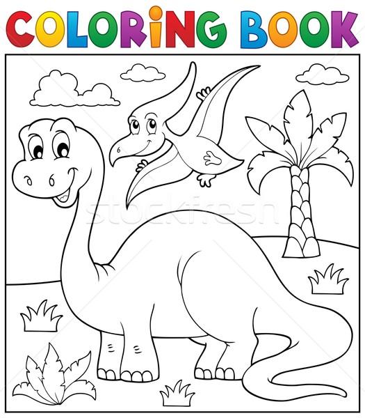 Coloring book dinosaur theme 3 Stock photo © clairev