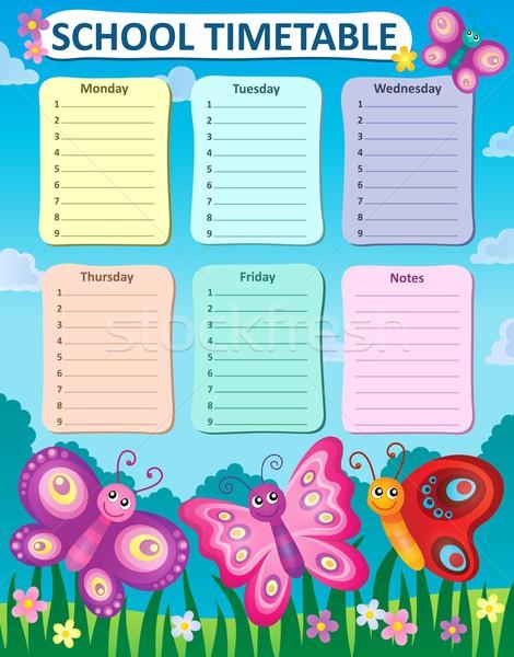 Heti iskola időbeosztás asztal tanul diagram Stock fotó © clairev
