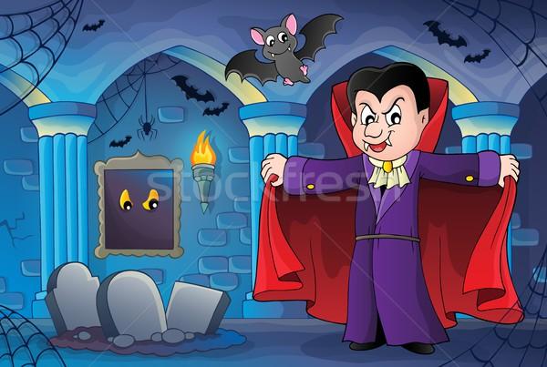 Vampire image art chambre dents araignée Photo stock © clairev