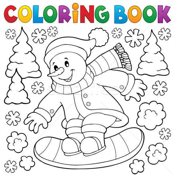 Coloring book snowman on snowboard Stock photo © clairev