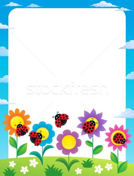 Keret virágok katicabogarak virág természet művészet Stock fotó © clairev