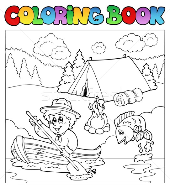 Coloring book with scout in boat Stock photo © clairev