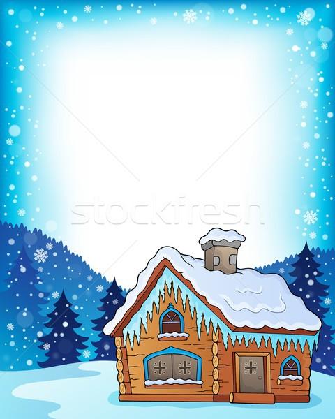 Winter huisje afbeelding huis natuur home Stockfoto © clairev