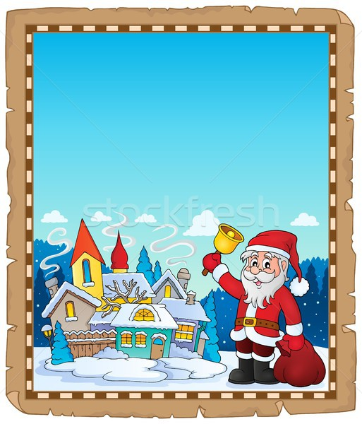 Дед Мороз деревне пергаменте бумаги счастливым домой Сток-фото © clairev