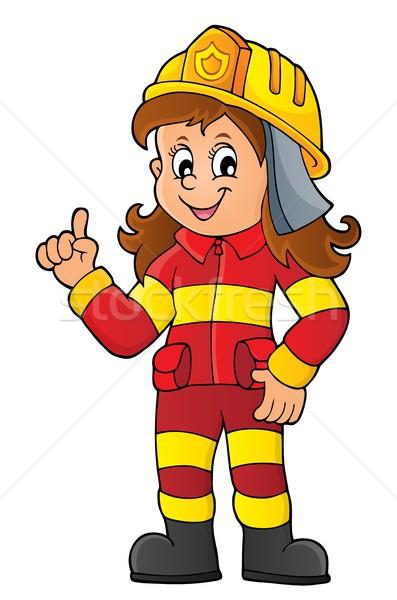 Foto stock: Bombeiro · mulher · imagem · arte · serviço · roupa