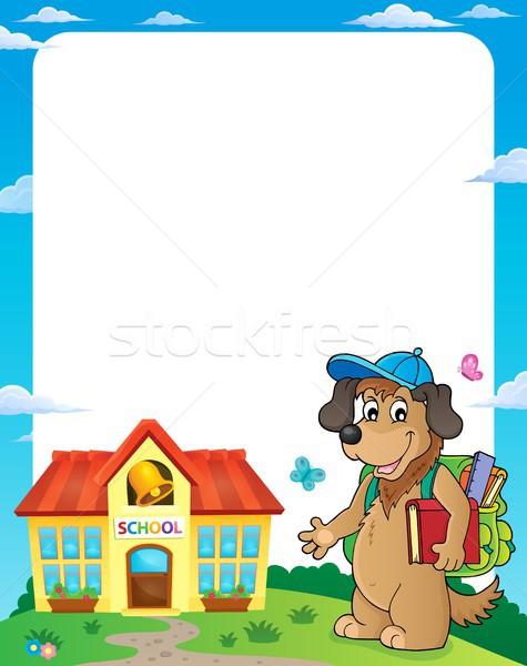 Stock fotó: Iskola · kutya · keret · tavasz · könyv · művészet