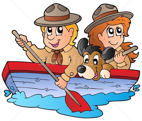 Barco escoteiro menino menina água Foto stock © clairev