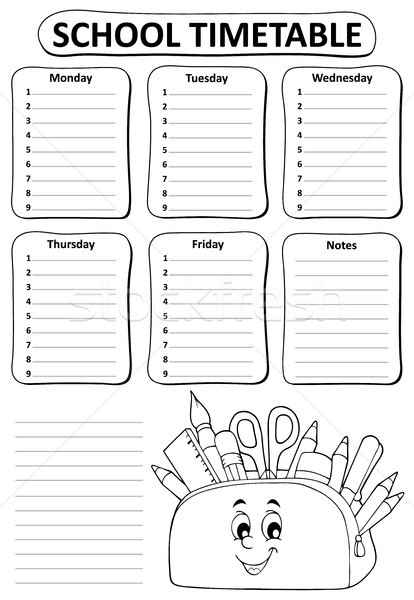 Black and white school timetable topic 2 Stock photo © clairev