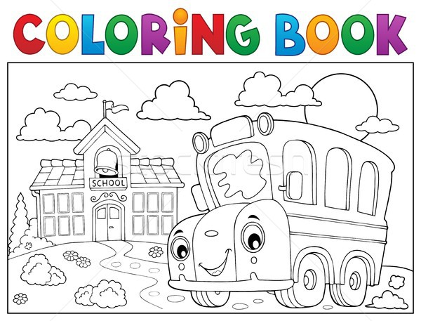 Livre de coloriage bus scolaire livre oeil visage bâtiment Photo stock © clairev