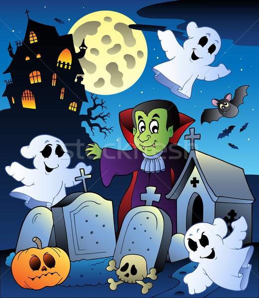 Stockfoto: Halloween · landschap · begraafplaats · kunst · nacht · schedel