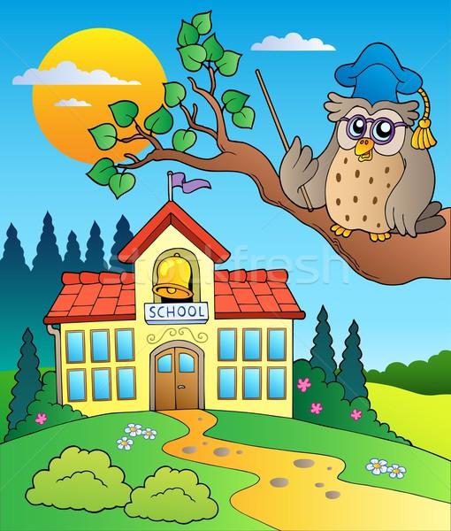 Owl teacher with school building Stock photo © clairev