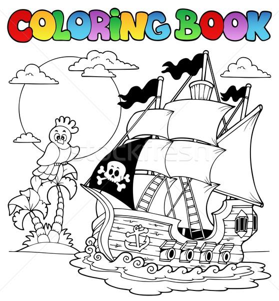 Boyama Kitabı Korsan Gemi Su Kitap Ahşap Vektör