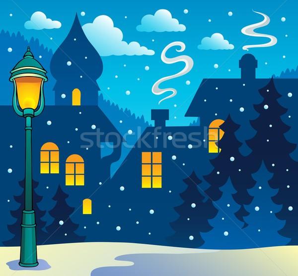 зима города изображение улице фон лампы Сток-фото © clairev