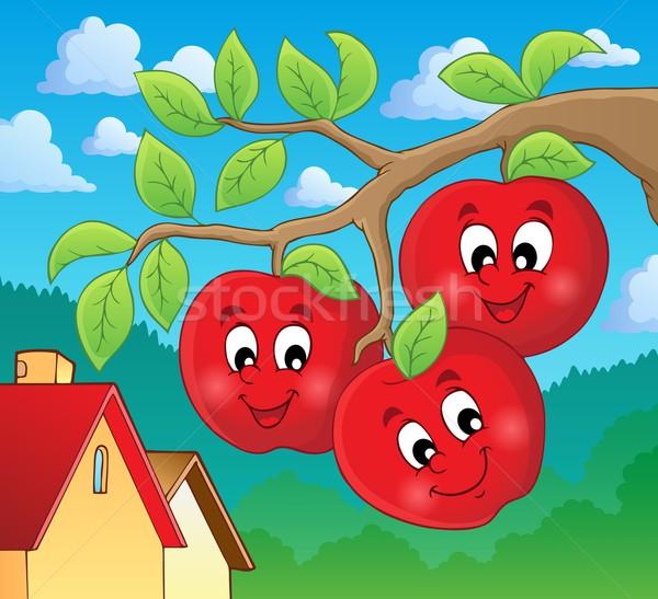 Obraz jabłka uśmiech charakter projektu liści Zdjęcia stock © clairev