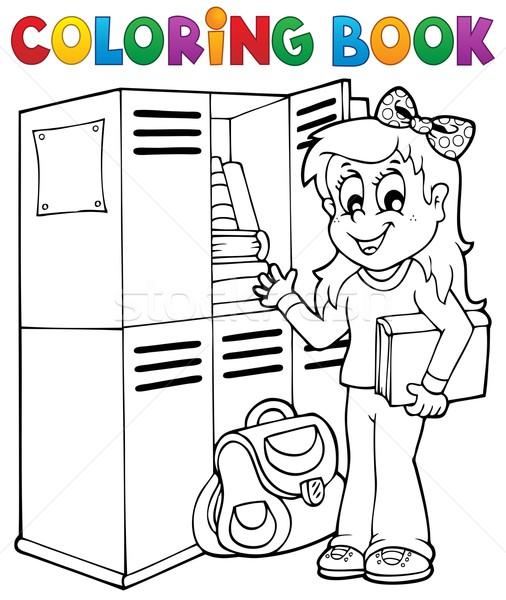Boyama Kitabı Okul Konu Kız Kitap öğrenci Vektör