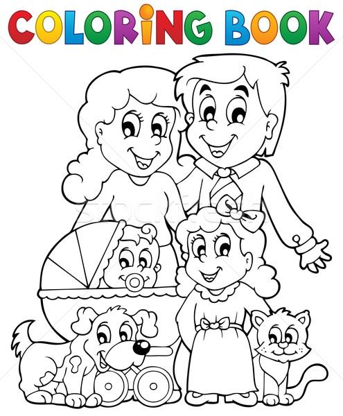 Boyama Kitabı Aile Bebek Gülümseme Kitap çocuk Vektör