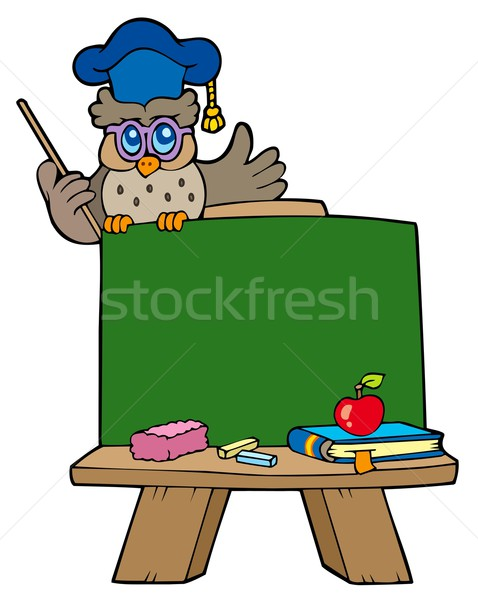 School chalkboard with owl teacher Stock photo © clairev