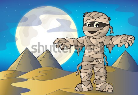 Cartoon trapper in wooden frame Stock photo © clairev