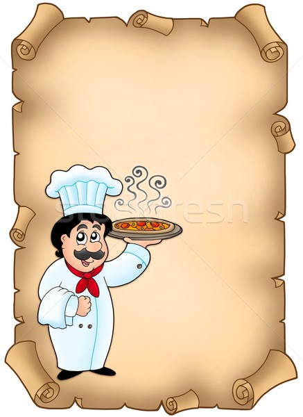 Parchment with chef holding pizza Stock photo © clairev