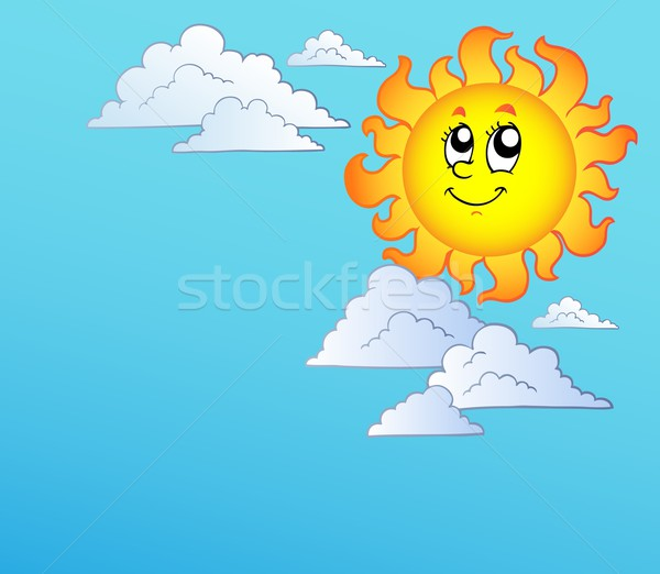 Cartoon Sun with clouds on blue sky Stock photo © clairev