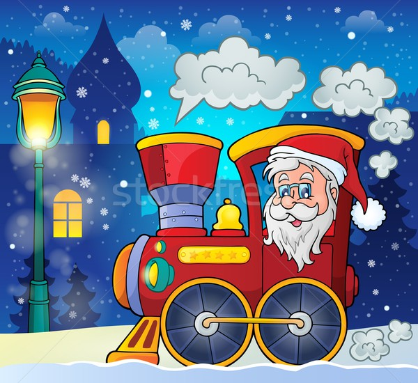 Christmas locomotief afbeelding gezicht sneeuw lamp Stockfoto © clairev
