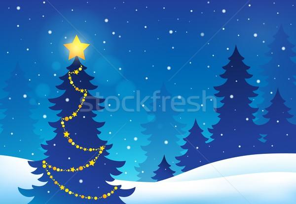 Karácsonyfa sziluett téma fa természet csillag Stock fotó © clairev