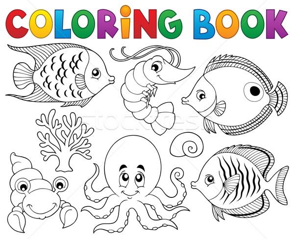 Coloring book marine life theme 2 Stock photo © clairev