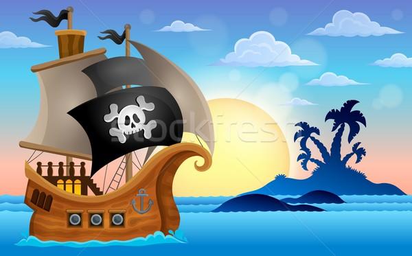 ストックフォト: 海賊 · 船 · 小 · 島 · 木材 · 太陽