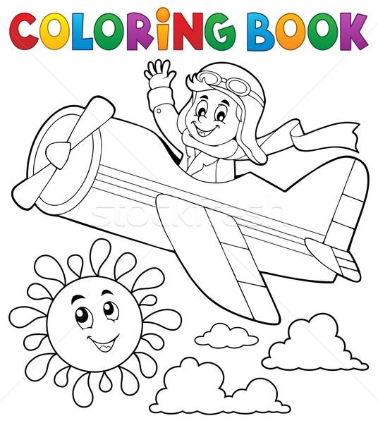 Coloring book pilot in retro airplane Stock photo © clairev