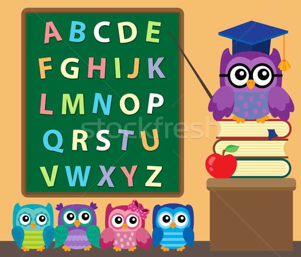 Owl teacher and owlets theme image 2 Stock photo © clairev