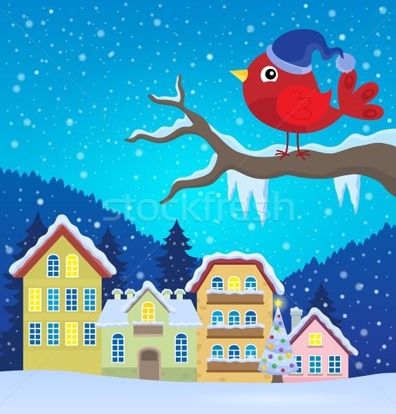 Stockfoto: Gestileerde · winter · vogel · afbeelding · natuur · sneeuw