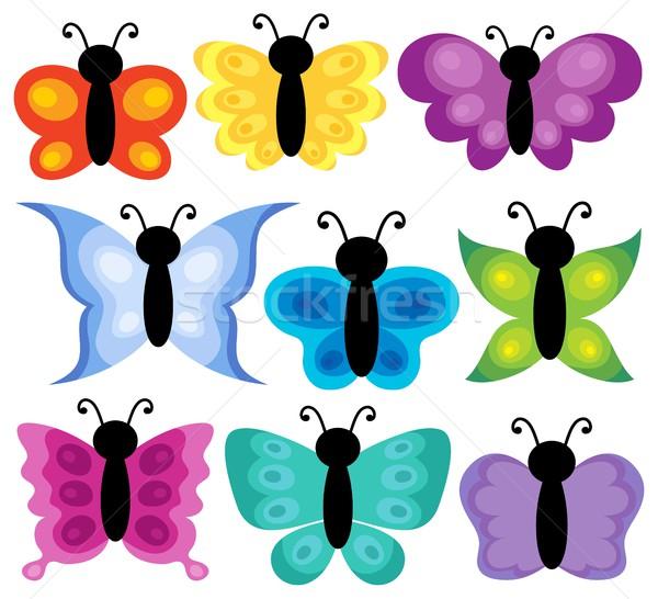 Stilizate fluturi set fluture natură vară Imagine de stoc © clairev