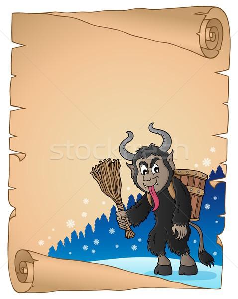 Pergamino papel arte invierno cesta dibujo Foto stock © clairev