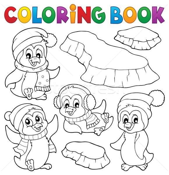 Coloring book happy winter penguins vector illustration © Klara ...