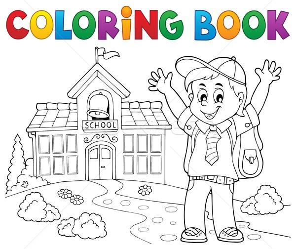 Coloring book happy pupil boy theme 2 Stock photo © clairev