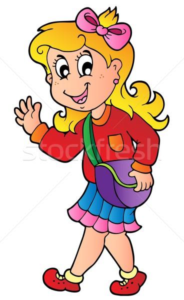 Cartoon nina caminando escuela sonrisa feliz Foto stock © clairev