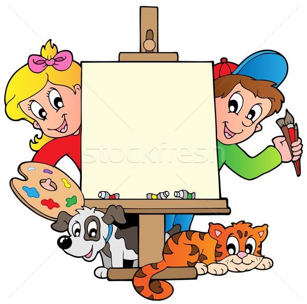 Karikatür · çocuklar boyama tuval kız gülümseme