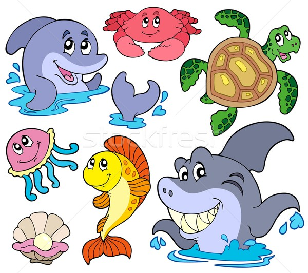 Stock photo: Set of marine animals