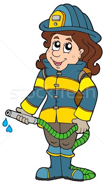 Stock photo: Firefighting girl