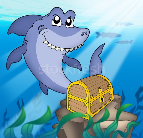 Shark with treasure chest Stock photo © clairev