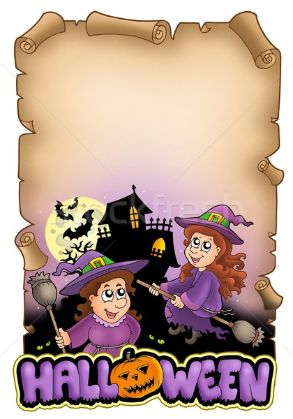 Stockfoto: Perkament · halloween · kleur · illustratie · vrouw · oog